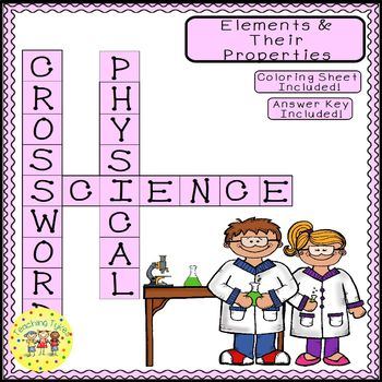 Elements and Properties Science Crossword Coloring Worksheet Middle School