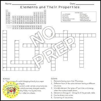 Elements and Properties Crossword Puzzle