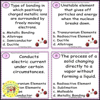 Elements and Their Properties Task Cards
