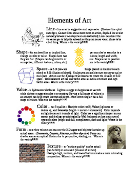 Elements fo Art & Principles of Design Handout