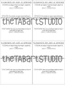 Elements of Art 2 Sketchbook Handout