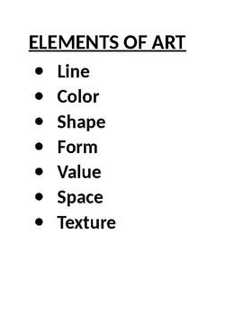 Elements of Art by Tischer Family's Homeschool Resources   TpT