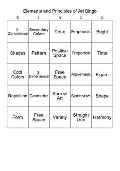 Elements of Art Bingo