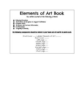 Elements of Art Books- Student Assessment