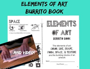 Elements of Art Burrito Book and Video Booklet Art Printable Middle School