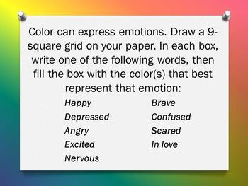 "Elements of Art ""Color"" Bellwork - 20 Sketchbook Prompts and Warm-Ups"