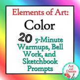 """Elements of Art """"Color"""" Bellwork - 20 Sketchbook Prompts a"""