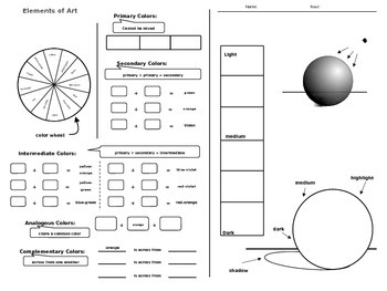 Elements of Art - Color and Value Worksheet - Editable