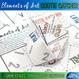 Elements of Art Cootie Catcher Game & Worksheets for Distance Learning Art