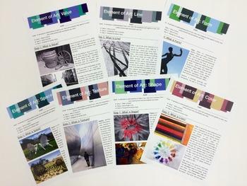 Elements of Art: Descriptions, Vocabulary, and Project Proposals BUNDLE