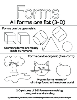 Elements of Art #3 - Forms Coloring Page AND Poster