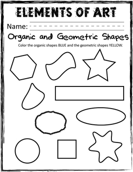 Elements of Art Handouts and Worksheets - Shape - 6 Pages