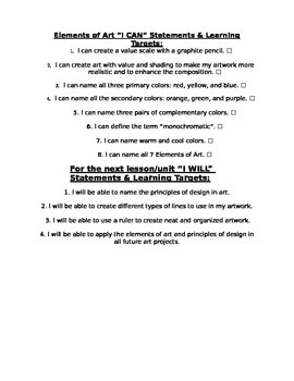 Elements of Art - I Can Statements and I Will Be Able To Statement Checklist