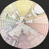Elements of Art: One-Point-Perpective City Scape Color Wheel