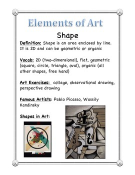 Elements of Art - WORD WALL Handout for Students, Teachers and Classroom