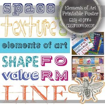 Elements of Art Printable Poster: Art Education Decoration
