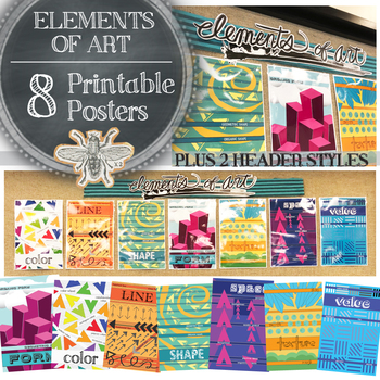 Elements of Art Poster Packet: 8 Modern Posters for your Bulletin Board