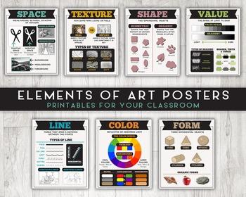 Elements of Art Printable Posters, Set of Art Classroom Printables (8x10)
