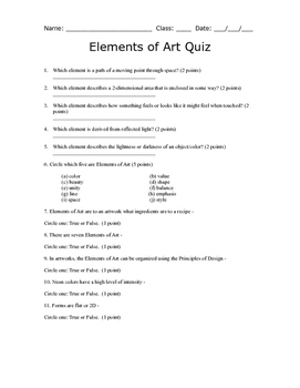 Elements of Art Quiz