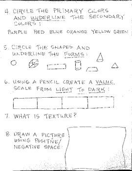 Elements of Art Review Sheet