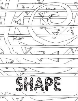 Elements of Art Review: Printable Shape Coloring Worksheet