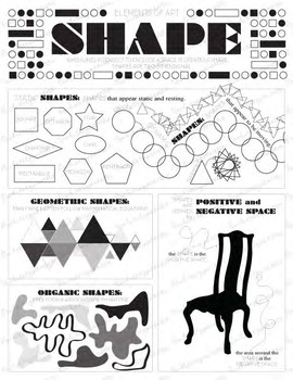 Elements of Art-Shape: Elementary, Middle, or High School Art Activity