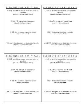 Elements of Art Sketchbook Handout