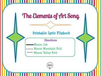 Elements of Art Song Lyric Printable Minibook