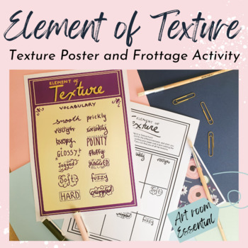 Elements of Art - Texture vocabulary lesson - Poster and Frottage activity!