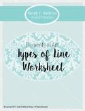 Elements of Art: Types of Line Worksheet