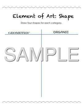 Elements of Art Work Packet