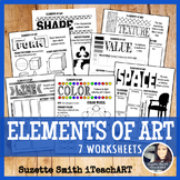 Elements of Art Worksheet Handouts form Middle school and