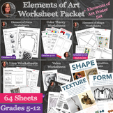 Elements of Art Worksheet & Poster Packet + Instructional