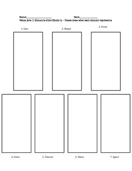 Elements of Art - Worksheet & Quiz