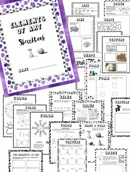 Elements of Art Worksheets (Printable Sketchbook for Early
