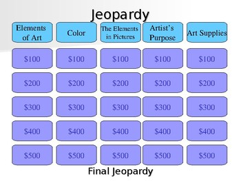 Elements of Art and Artist's Purpose Jeopardy