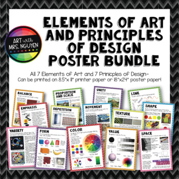 Elements of Art and Principles of Design Poster Bundle (8.5