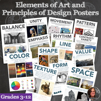 Elements of Art and Principles of Design Posters , 14 Posters