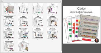 Elements of Art & Principles of Design Worksheets Bundle - 90 handouts