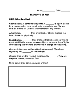 Elements of Art fill in the blank
