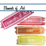 Elements of Art in Watercolor mini posters printable classroom decor