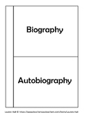 Biography and Autobiography Foldable