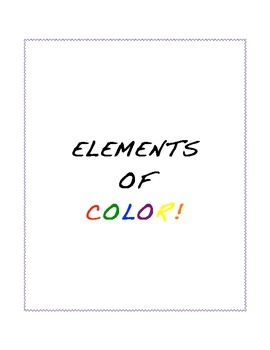 Elements of Color Worksheet
