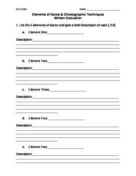 Elements of Dance Evaluation
