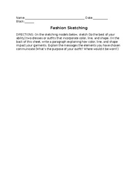 Elements of Design Fashion Sketching Assignment