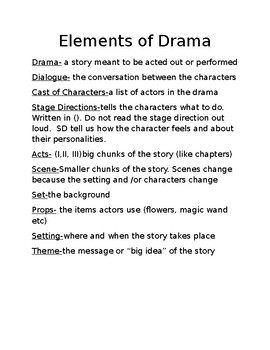 Elements of Drama Reader's Notebook Page
