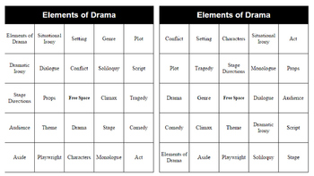 Elements of Drama Bingo