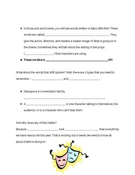 Elements of Drama Guided Notes, Quiz, and Answer Key!