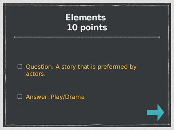 Elements of Drama Jeopardy