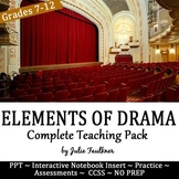 Elements of Drama Complete Teaching Pack, Task Cards, Quiz